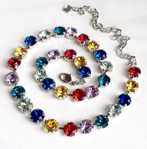 Swarovski Crystal 8.5mm Necklace  - Designer Inspired - Happy & Bright Rainbow Colors - FREE SHIPPING