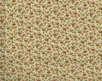 Floral Fabric, Quilters Calicos, Orange Floral Fabric, Orange Roses, Orange and Beige Fabric, 10039