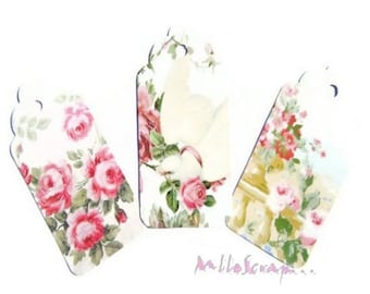 "Set of 3 ""shabby"" embellishment cardmaking scrapbooking tags *."