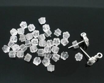 10G (Approx 250) Rubber Earring Findings Ear Nuts Flower White 4.0mm (B23b)