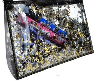 Gold Cosmetic Bag Clear Pencil Case Glitter Makeup Bag Travel Toiletry Bag