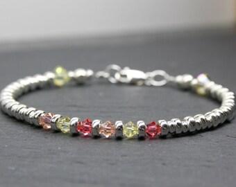 18th Birthday Gift, Dainty Holiday Bracelet, Silver Beaded Bracelet, Sterling Silver Bracelet, Stackable Bracelet, Crystal Bracelet