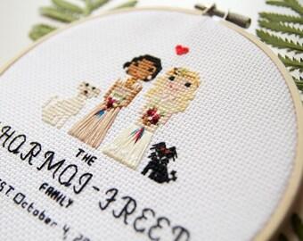Custom Wedding Couple Cross Stitch Portrait