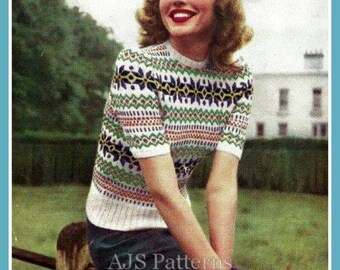 PDF Knitting pattern for a Fair Isle Jumper in a Beautiful Traditional Design  - 1940's - Instant Download