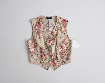 cropped floral vest   floral linen vest   button down vest
