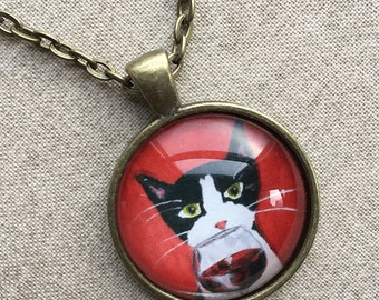 Kitty Necklace - Tuxedo Cat Necklace - Cat with Wine Necklace -  Cat Jewelry - Cat Pendant - Silent Mylo Tuxedo Cat - Gift for Cat Lover
