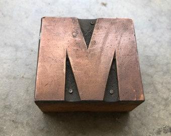 Antique Copper on wood Printers Block - Letter M