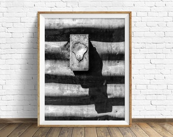 "black and white photography, large art, printable art, instant download printable art, digital download, wall art prints - ""Alert Watchman"""