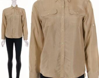 90s Beige Silk Blouse UTILITARIAN RALPH LAUREN Top Long Sleeve Button Down Double Pockets Minimalist Top Medium Large