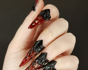 Claw KlauenSet armor rings claws photo shoots black, red, flourishes, plug-on nails, nails, nails set