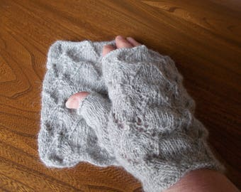 Alpaca,  lacy fingerless gloves ,silver grey alpaca gloves,