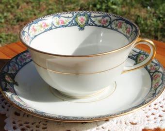ELITE WORKS LIMOGES Teacup and Saucer Set