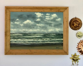 vintage framed ocean oil painting large wormwood framed M Charles