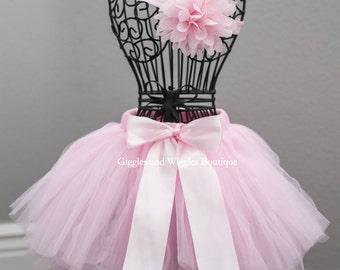 Baby girl clothes, pink newborn skirt and headband set, newborn girl outfit, pink tutu, baby girl headband, ruffle skirt, baby shower