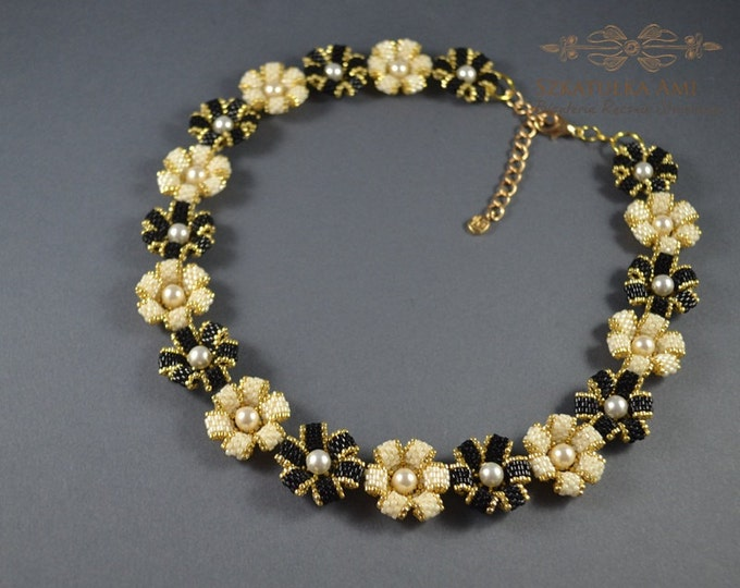 Made to order, order necklace, custom necklace, flowers necklace, pearl swarovski, woven necklace, bead necklace, gift for women, statement