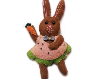 Bunny Rabbit in Pink Dress Hand Stitched Wool Felt Ornament