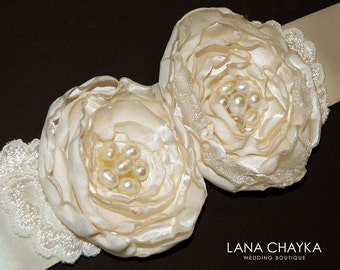 Ivory Flower Girl Sash Ivory Satin Floral Belt Ivory Florish Sashes Wedding Ivory Flower Girl Sash Wedding Sashes Dress Sashes