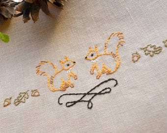 Woodland embroidery, hand embroidery patterns, squirrel embroidery design