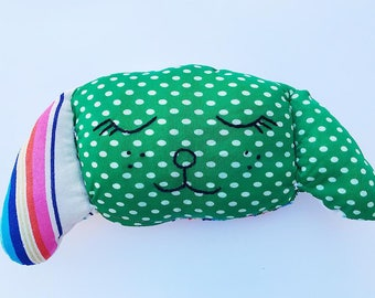 Cute dog pillow, plushie, stuffie, toy, gift handmade from vintage fabric