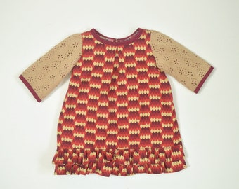 3T-4T Boxy Suede Sleeved Cotton Ruffle Hem Top
