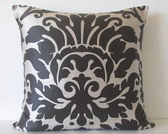 Metallic Silver Black Damask Pillow Cover