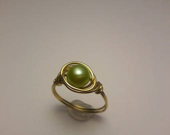 Simple Gold Pearl Ring