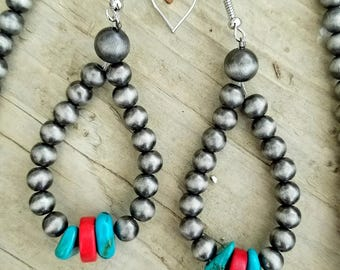 Ted and teal silver earrings