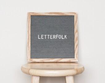 """10""""x10"""" Letter board w/ 290-characters — Grey felt, light oak wood frame"""