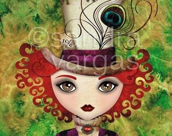 Mad Hatter 8 x 10 Print, Digital Illustration, Alice in Wonderland Wall Art