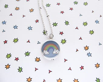 Happy Rainbow Necklace, Best Friends, Cute Pendant, Accessories, Jewelry, Funny, Rainbow Lover Gift, Silver Plated, Ball Chain