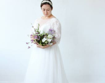 White Romantic Airy Lace 3/4 Sleeves Wedding Dress