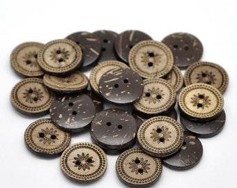 Coconut button 10 Brown Coconut Shell Buttons 18mm -  Country Flower