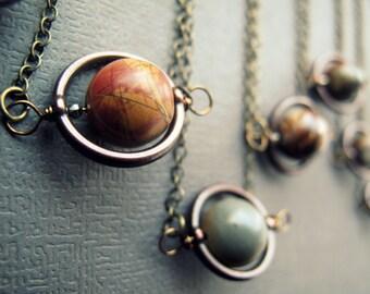 Planète - système solaire collier - Outer Space Science Bijoux - pendentif pierre planète - astronomie - bijoux - bijoux Sci Fi