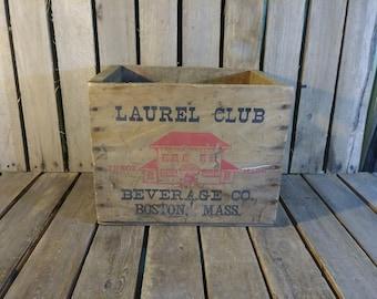 Antique Wooden Crate 1937 Laurel Club Beverage Co Boston Mass, Antique Wooden Box,