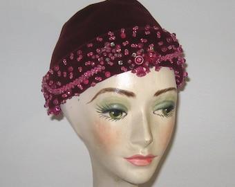 wine red velvet hat .  beaded velvet hat . velvet hat . beaded velvet . Norman Paulvin