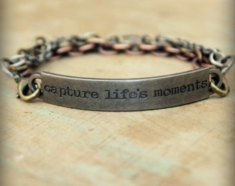 "2pc Indie Inspirational Quote Interchangeable Bracelet ... ""Capture life's moments"""