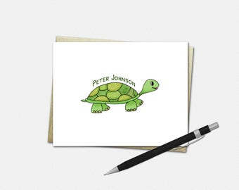 Personalized Turtle Note Cards - Turtle Note Cards - Set of 10 - Folded Note Cards - Stationery for Kids - Turtle Stationery