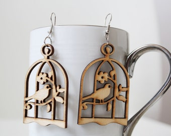 Buy 3 get 1 Free pair//Lovely Birds Laser Cut  Wood Earring