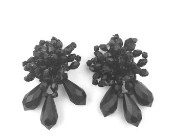 Vintage Black Faceted Beaded Bold Cluster Drop Clip On Earrings