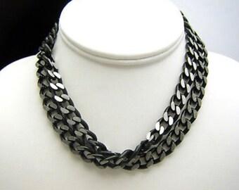 Goth Chic Vintage Aluminum & Black Enamel Link Necklace