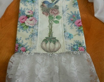 Guest Decorative Towel -  Bluebird in a Nest atop a Topiary