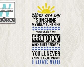 SVG Sunshine Rainbows Themed Cutting File kwd059c dxf svg eps png