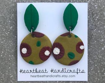 Full moon native blooms clay dangle earrings, Australian flora