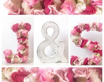 Nursery Flower Letters Wedding Letters Freestanding letters baby, stand alone letters baby, rustic wedding letter flowers, floral letters