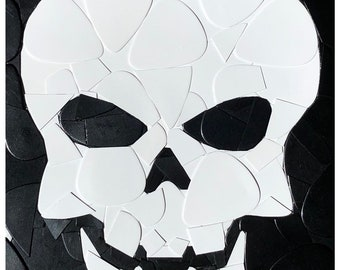 Skull Guitar Picks on Canvas