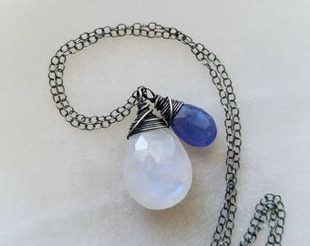 Oxidized Moonstone and Tanzanite Necklace, Tanzanite Necklace, Rainbow Moonstone Necklace, Oxidized Sterling Silver Necklace