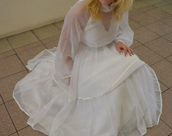 1970's White Layered Wedding Dress