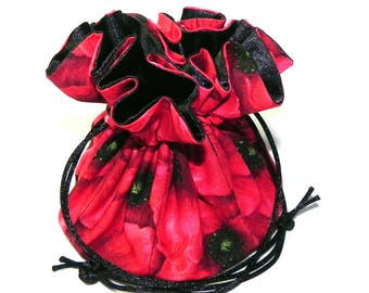 Jewelry Drawstring Travel Bag - Organizer Pouch - Red and black poppy flowers - Mothers Day gift idea