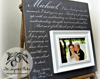 Valentine's Day Wedding Vow Art, Framed Wedding Vows, Wedding Vow Keepsake, Anniversary Gift, Gift for Groom, Gift for Bride, 16x16
