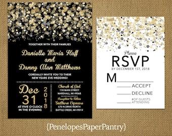 New Year's Eve Wedding Invitations,Black,Gold,White,Confetti,Splatter,Shimmery,Customize,Printed Invitations,Invitation Sets,Black Envelopes